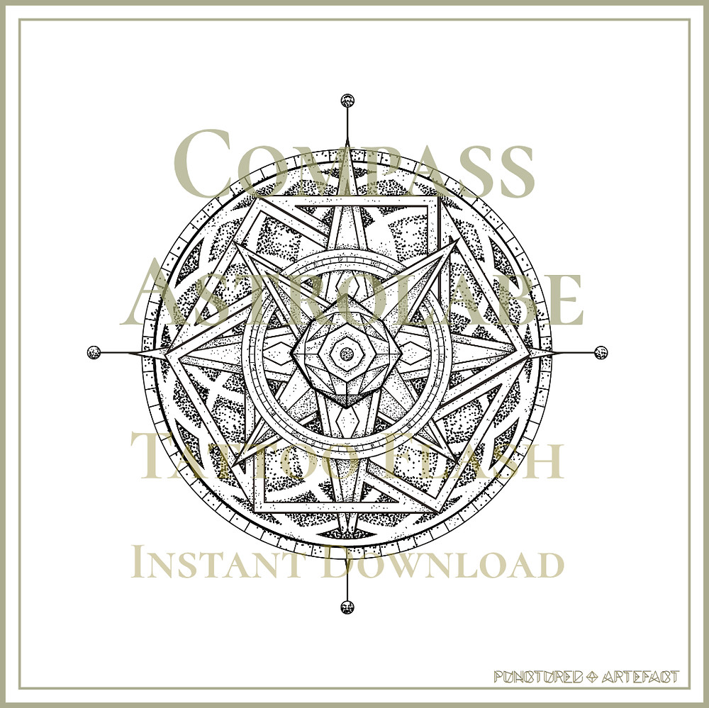 Astrolabe 8 | Compass | Tattoo Flash | Instant Download | Symbolic Geometry