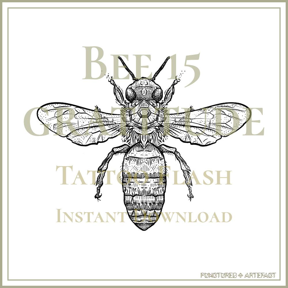 BEE 15 | Tattoo Flash | Instant Download | Tattoo Art