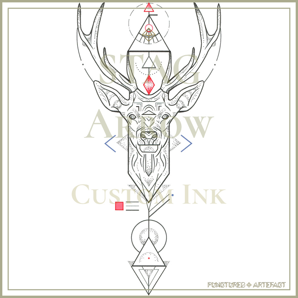 Stag Arrow | Custom Tattoo Design | Punctured Artefact