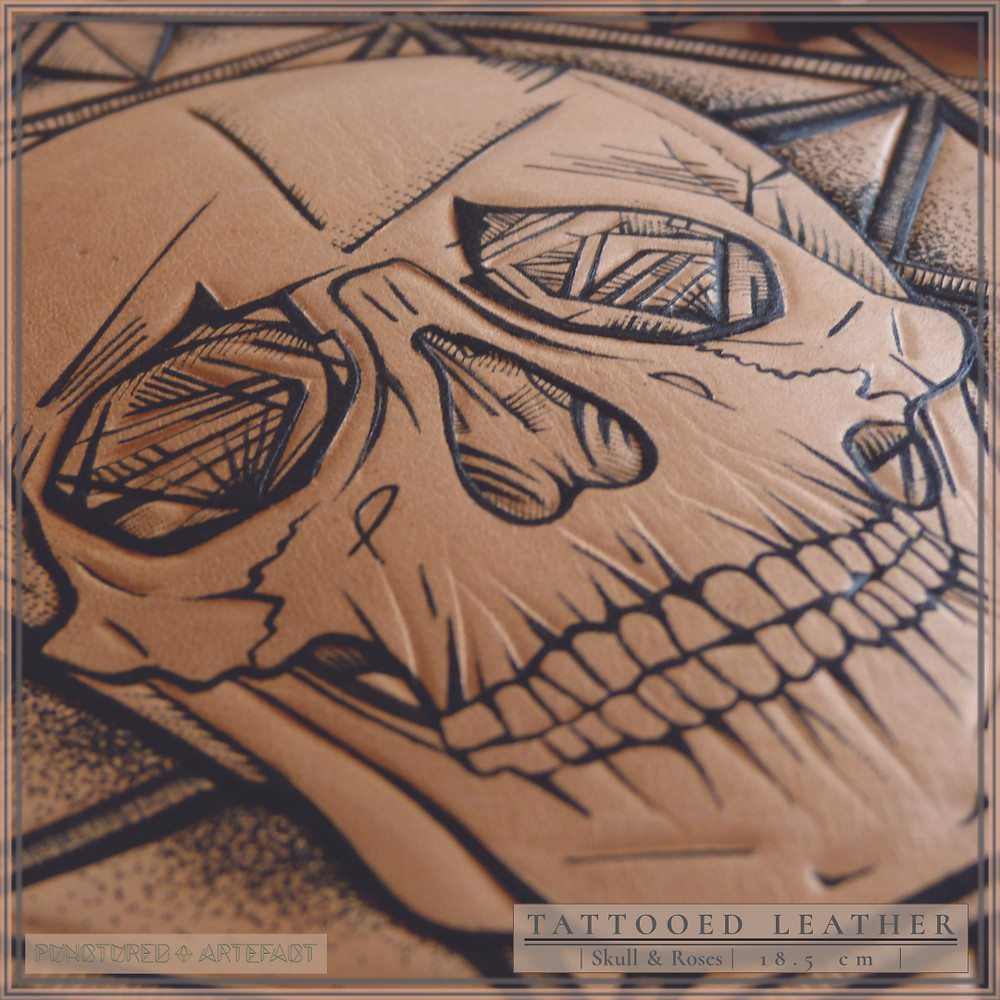 Close Up | Skull With Roses | Tattooed Leather Art | Punctured Artefact