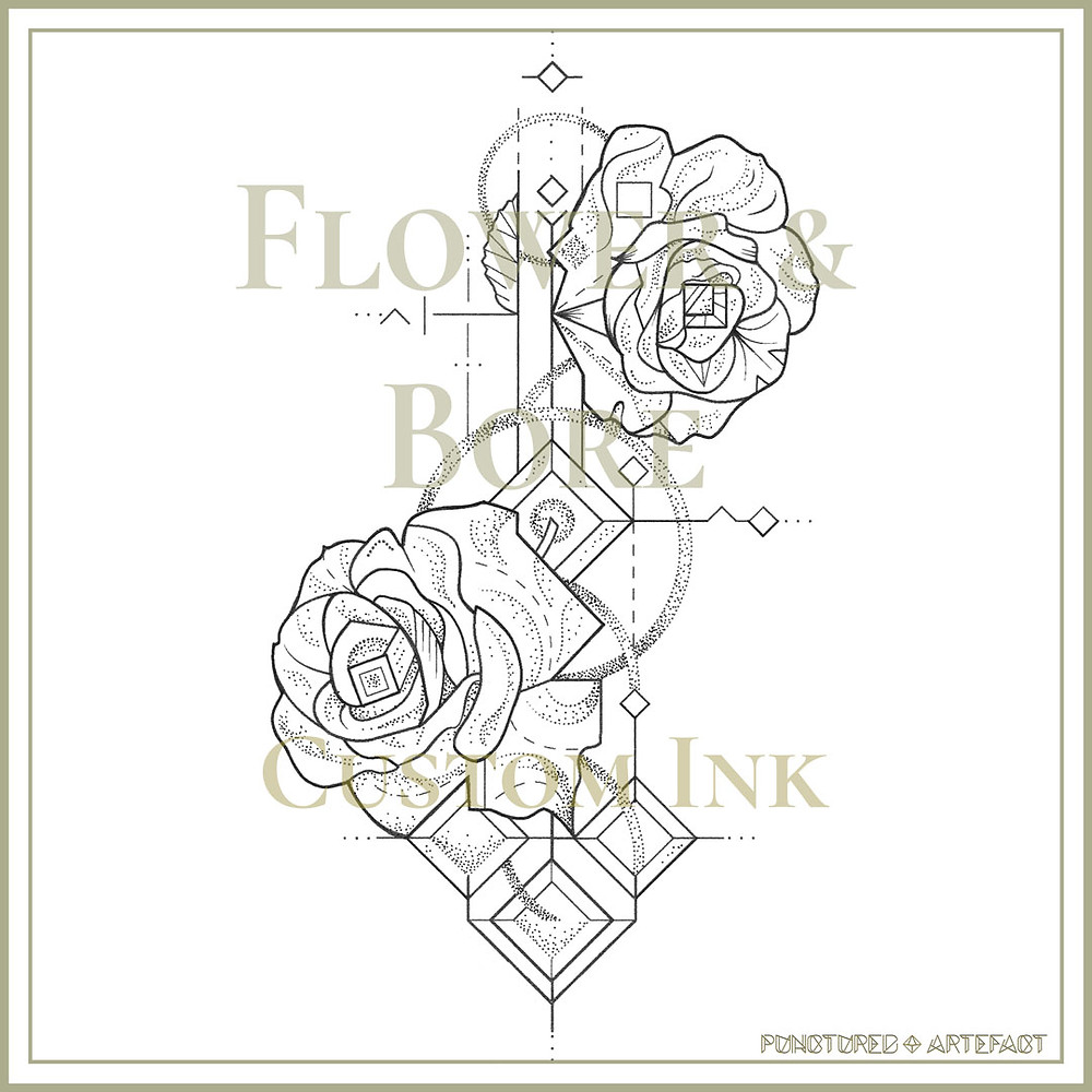 Flower & Bore | Roses | Tattoo Flash | Punctured Artefact