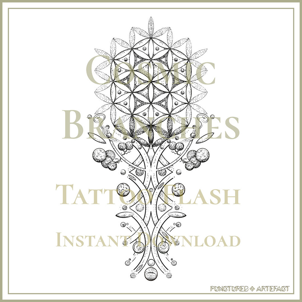 Cosmic Branches | Tattoo Flash Design | Sacred Geometry | Punctured Artefact