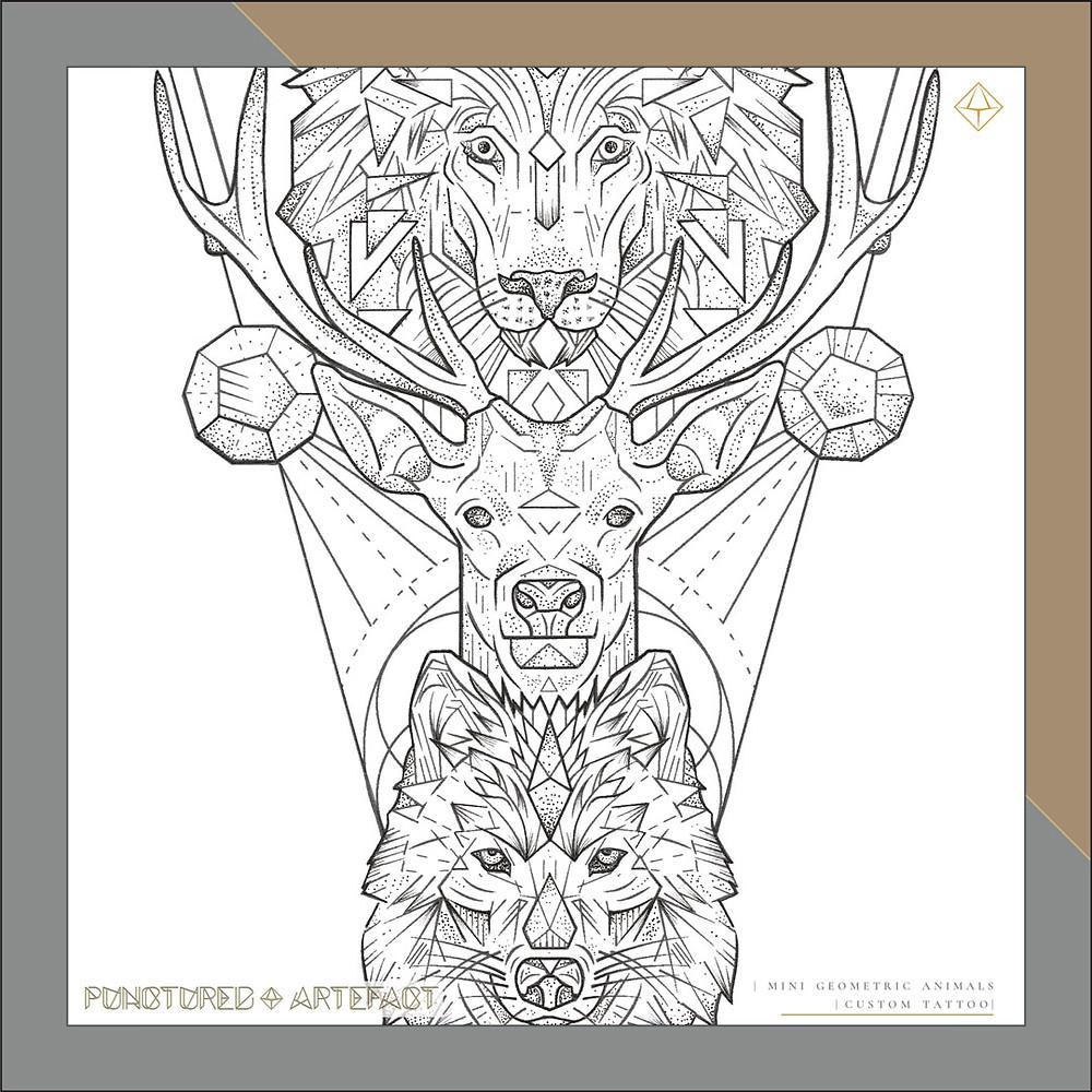 Mini Geometric Animals | Tattoo Design | Punctured Artefact