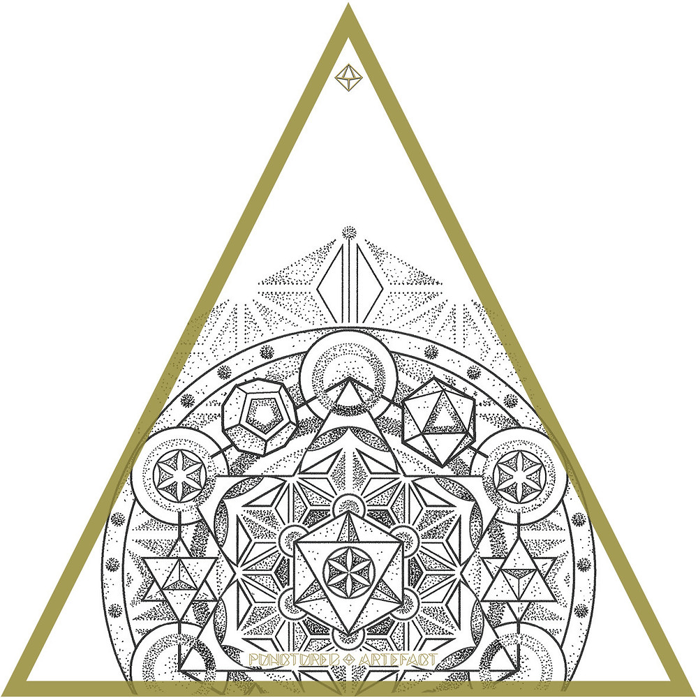 Tattoo Flash Instant Download | Metatron 14 | Asanoha Pattern