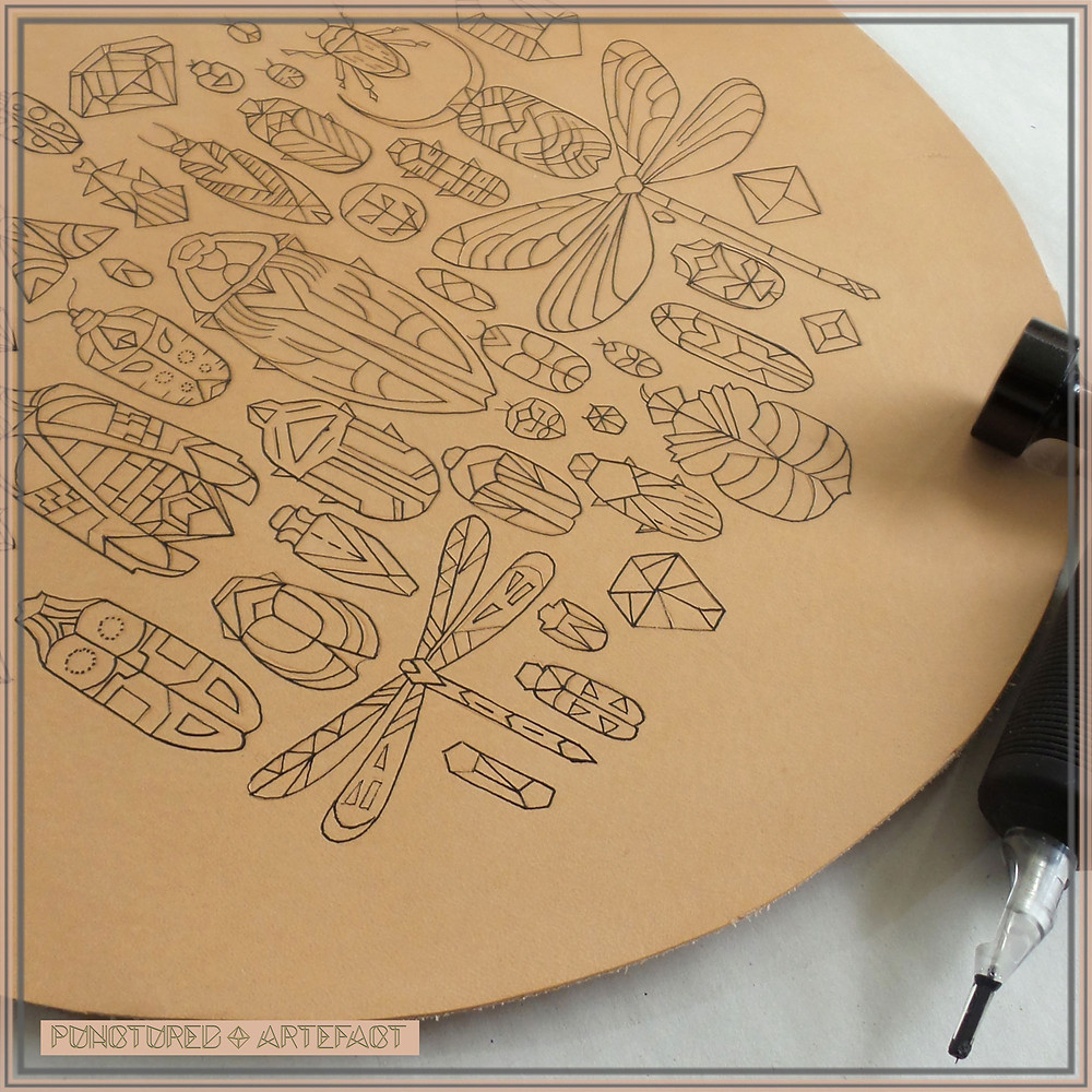 Pre Order Leather Art | Sample of Art | Hoop WIP | Tattooing Fine Lines