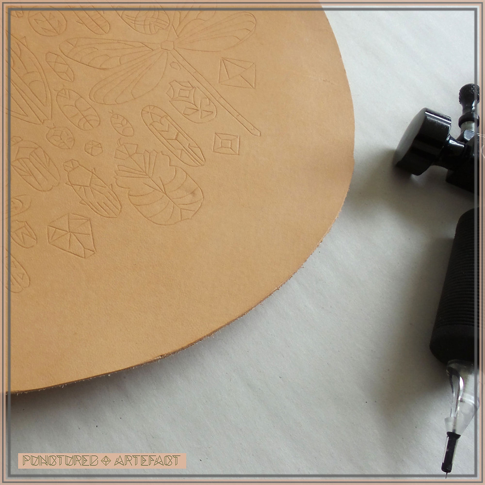 Pre Order Leather Art | Sample of Art | Hoop WIP | Tracing The Fine Lines