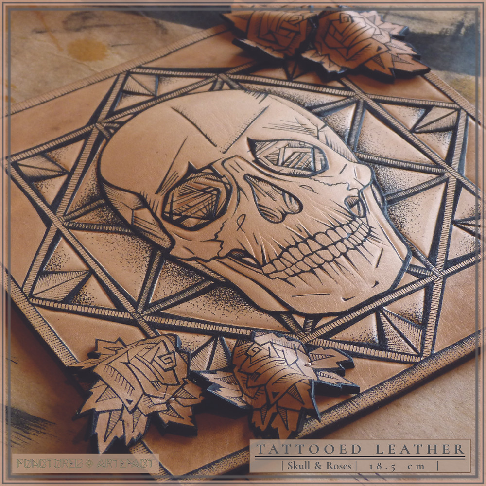 Close Up   Skull With Roses   Tattooed Leather Art   Punctured Artefact