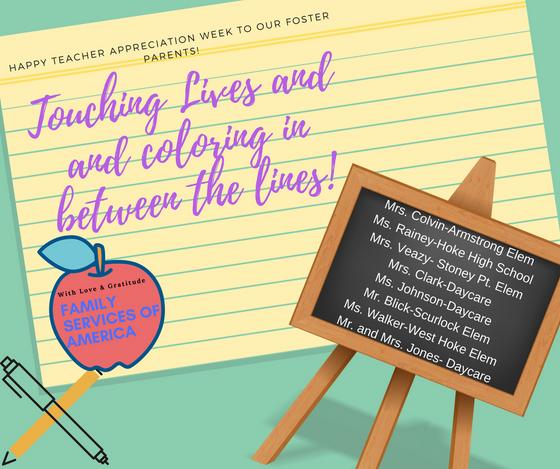 Foster Parent Teacher Appreciation Week