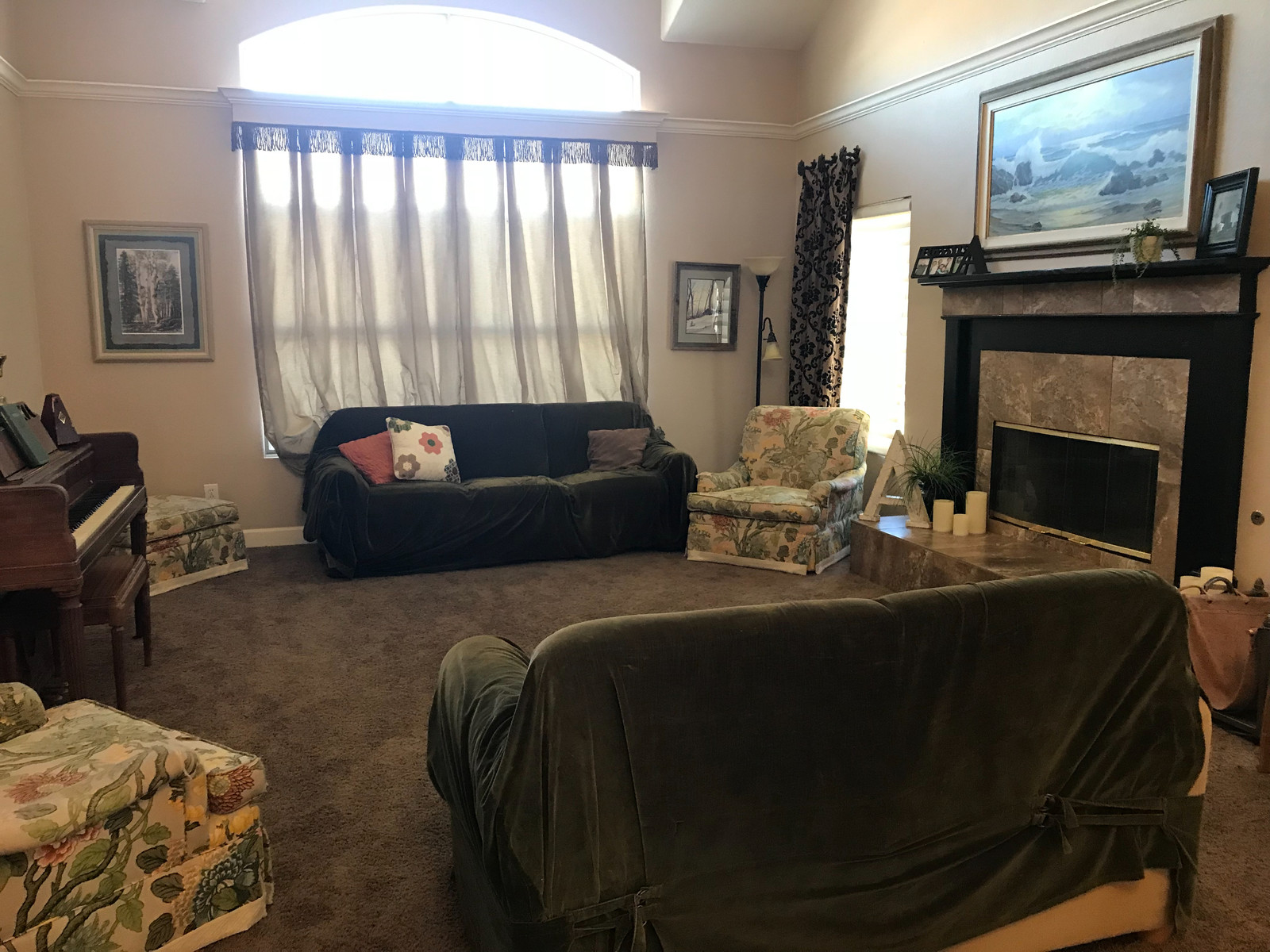 Cluttered dark rooms with old furnitures before