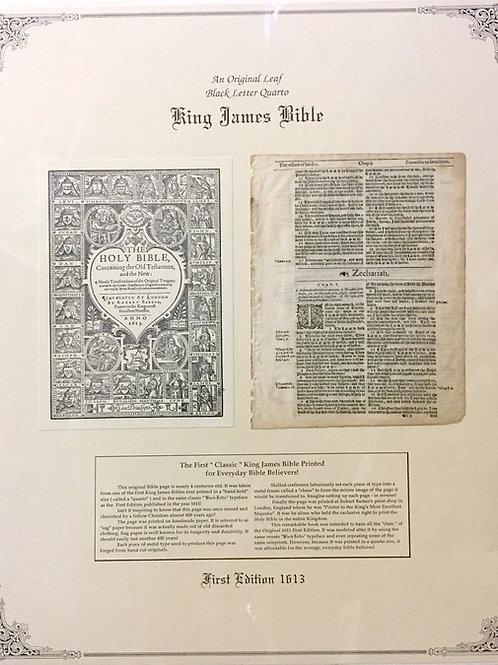 Zechariah Title Page - Original 1613 KJV Black Letter Quarto Bible Leaf