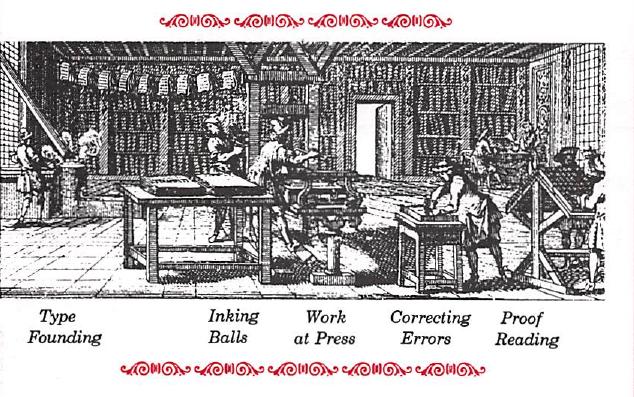 Type Founding, Inking Balls, Work at Printing Press, Correcting Errors & Proof Reading