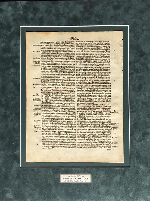 1521 Koberger Latin Bible Leaf
