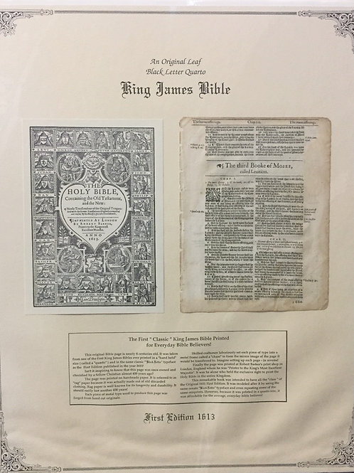 Leviticus Title Page - Original 1613 KJV Black Letter Quarto Bible Leaf