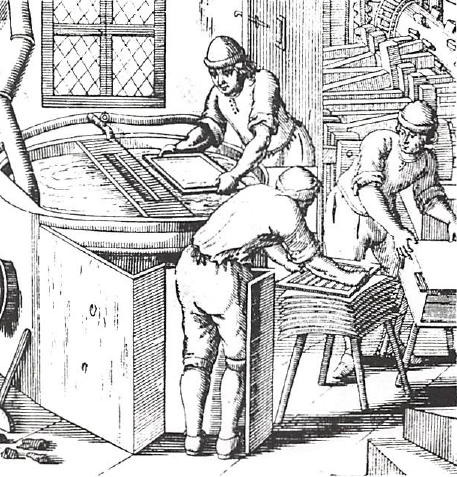 European Paper-making Showing the Vatman, Coucher and Layman at work