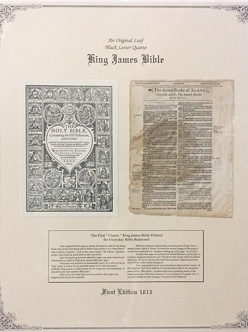 2 Samuel Title Page - Original 1613 KJV Black Letter Quarto Bible Leaf