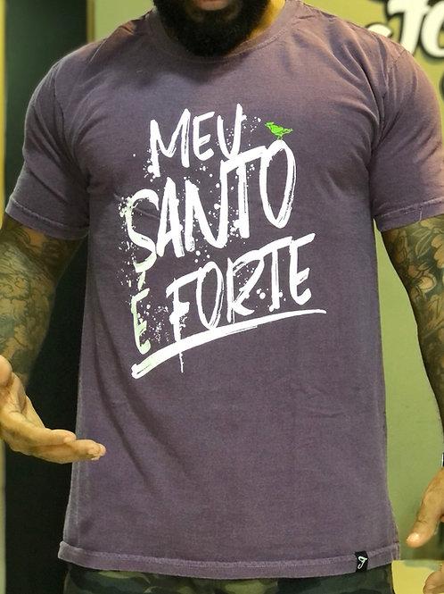 CAMISETA MEU SANTO É FORTE LETRAS STONE