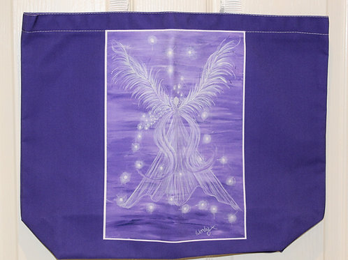 Purple Guardian Angel Tote Bag
