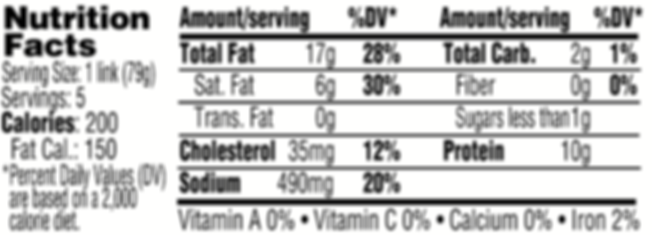 Bratwurst Nutritionals.png