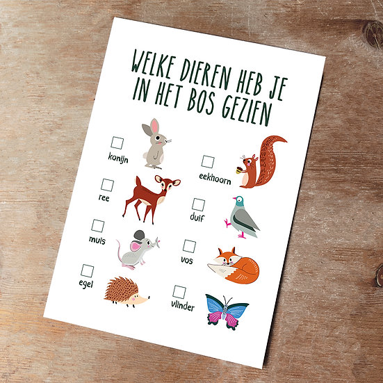 Bosdieren kaart - download