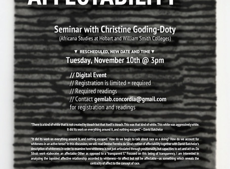 """""""Race and Affectability"""" with Christine Goding-Doty Rescheduled to Nov. 10, 3PM"""