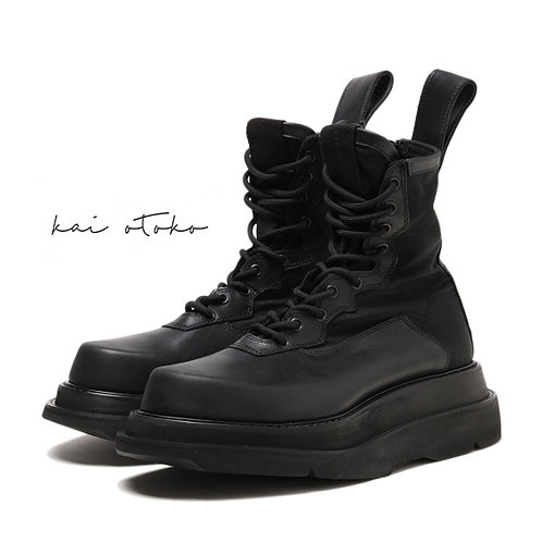 DOUBLE SOLE STITCHING HEIGHTEN LEATHER BOOTS
