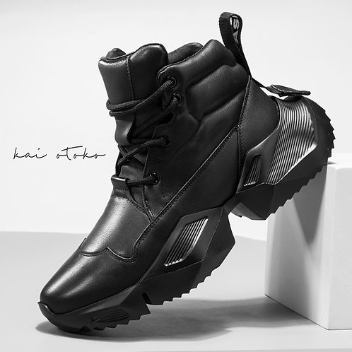 HEIGHTEN POLYGON PIT SOLE LEATHER SNEAKERS