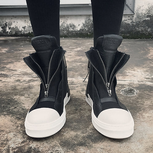 FRONT ZIPPED FABRIC STITCHING LEATHER SNEAKERS