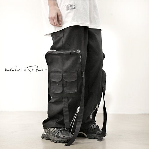 MULTI-ZIPPED LARGE CARGO WIDE TROUSERS