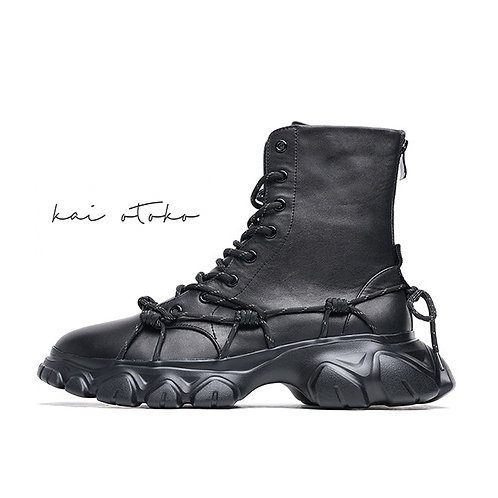 IRREGULAR TOOTH SOLE MULTI LACE-UP LEATHER BOOTS