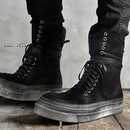 WASHED SOLE LONG-LACE HIGH MATTE LEATHER SNEAKERS