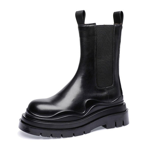 WAVING LAYER STITCHING HIGH CHELSEA BOOTS