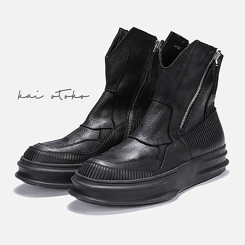 CURVING SOLE IRREGULAR STITCHING LEATHER SNEAKERS