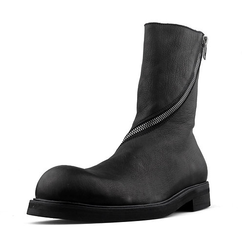 CURVE DISTORTED ZIPPED LONG LEATHER BOOTS