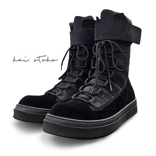 LEATHER STITCHING HEIGHTEN VELCRO TAPS SNEAKERS