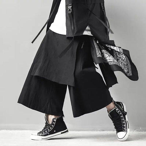 MULTI-LAYERING SKIRT WIDE ANKLE PANTS