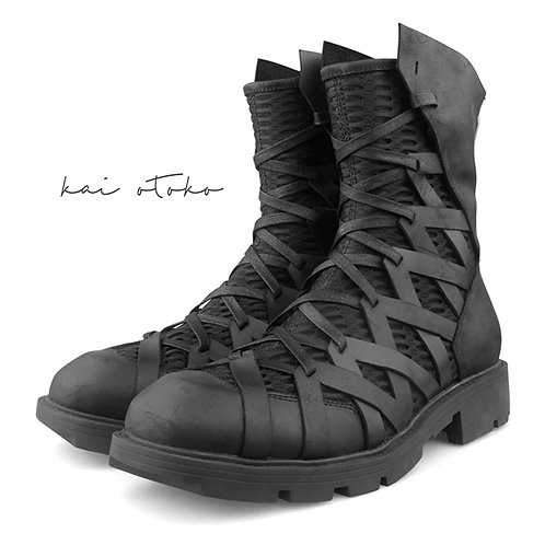 MESH STITCHING LEATHER BOOTS