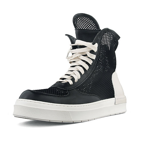 LEATHER STITCHING FABRIC MESHING SNEAKERS