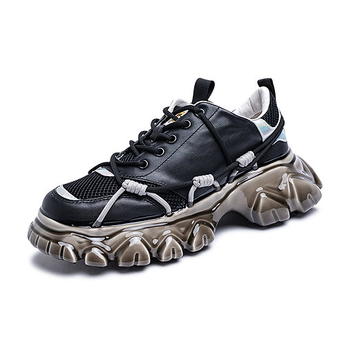 EPOXY IRREGULAR TOOTH SOLE MULTI LACE-UP SNEAKERS