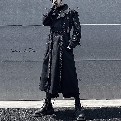 LONG WEAVING STRAPS DOUBLE-BREASTED LONG JACKETS