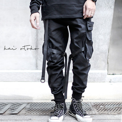 SIDE POCKET STITCHING HARNESS CARGO TROUSERS