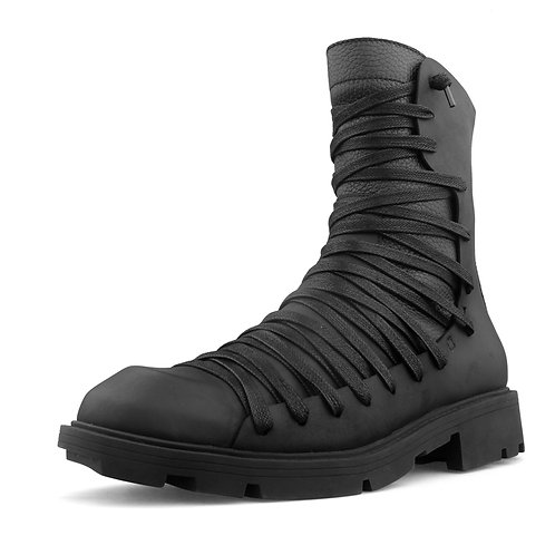 OVERLADED COMBAT HIGH LEATHER BOOTS