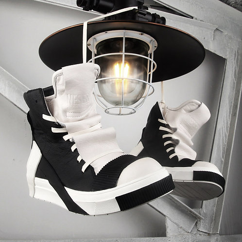 GEOMETRIC STITCHING HIGH TOP LEATHER SNEAKERS