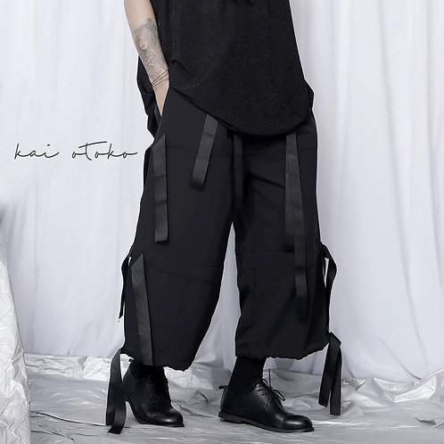 MULTI-STRAPS WIDE STRAIGHT TROUSERS