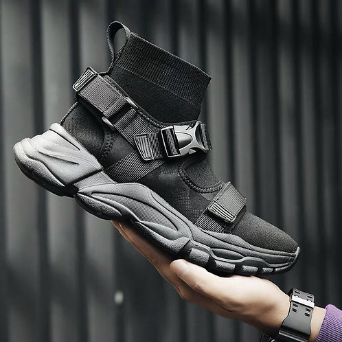 IRREGULAR SOLE HARNESS KNITTED SOCK SNEAKERS