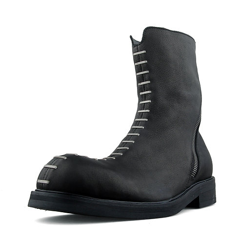 SEAMING SHOE-LACING MATT HIGH LEATHER BOOTS