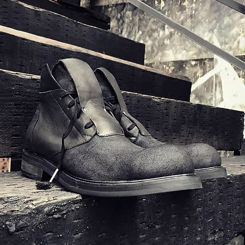 TONGUE HAT MATTE STITCHING LEATHER SHOES