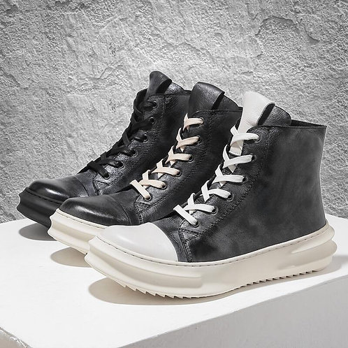 WASHED BLACK IRREGULARLY SOLE LEATHER SNEAKERS