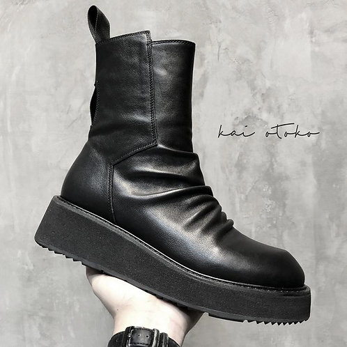 SIDE ZIPPED LEATHER PLATFORM BOOTS