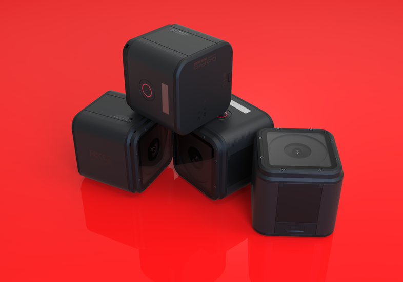 GoPro Hero 4 Session.  This design is not mine, is a 3D representation of a camera GoPro from the Session series, is an action camera that fascinates me by its minimalism and the proportional size of its lens according to its reduced size.