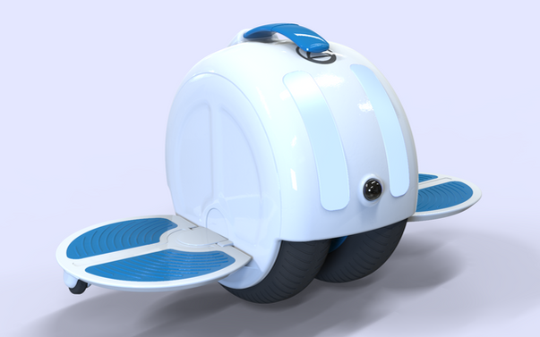 Electric unicycle.  This design was born from a work of the university in which we had to design an electric scooter. It consists of an electric unicycle with two base wheels that favor stability since each one has a pneumatic shock absorber that makes both wheels be always in contact with the ground. The most experimental part of the project was to establish a renting service which would be based on different loading stations distributed throughout the operational area as other services such as bicing in Barcelona already do. The curious thing would be that by using a front sensor, a GPS positioning system and a self-stabilizing system should be able to go and return from the station to the user's location automatically using specialized lanes.